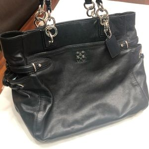 Authentic coach black leather tote bag